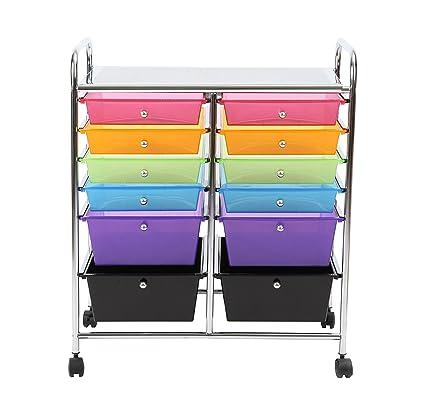 Finnhomy 12 Drawer Plastic Portable Mobile Organizer Rainbow, Multi Purpose  Utility Double Rolling