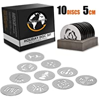 Earth's Dreams Holiday Cookie Press Discs – 10 Piece Stainless Steel Cookie Disc Set for All Popular 5cm Cookie Press Guns – Baking Supplies - Christmas Discs