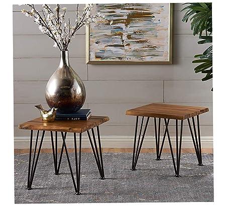 Furniture Liam - Mesa Auxiliar de Madera de Acacia rústica ...
