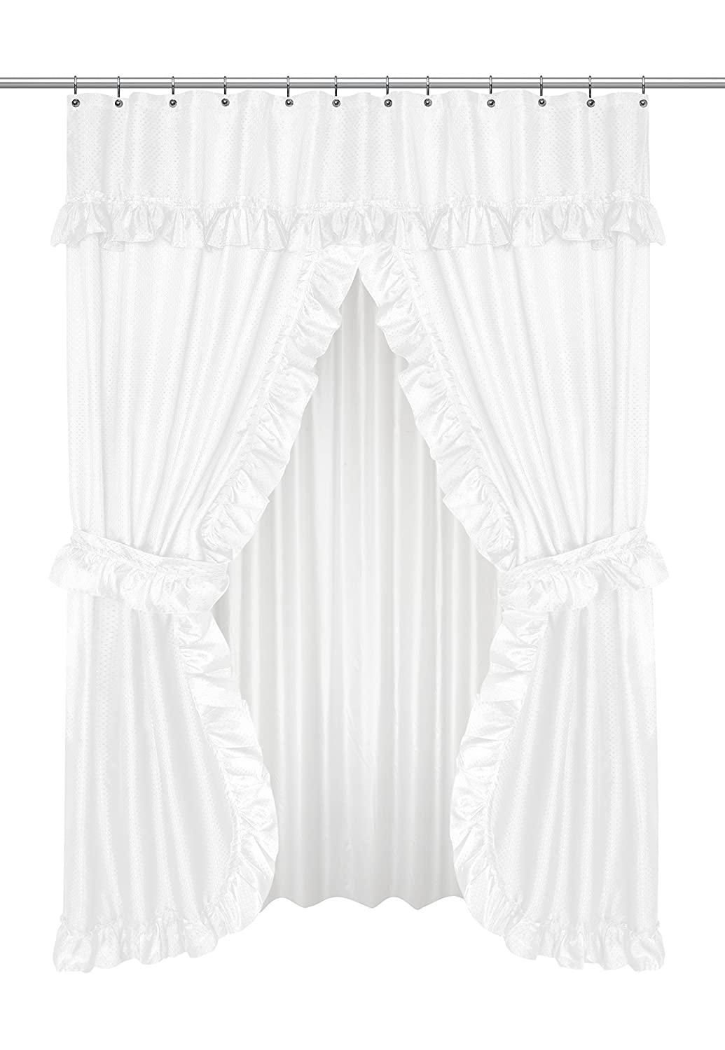 Carnation Home Fashions FSCD-L/21 Lauren Double Swag Shower Curtain White