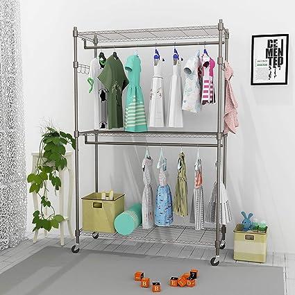 Ordinaire Leoneva 3 Tier Portable Clothes Wardrobe Garment Rack Home Closet Hanger  Storage Organizer With Wheels