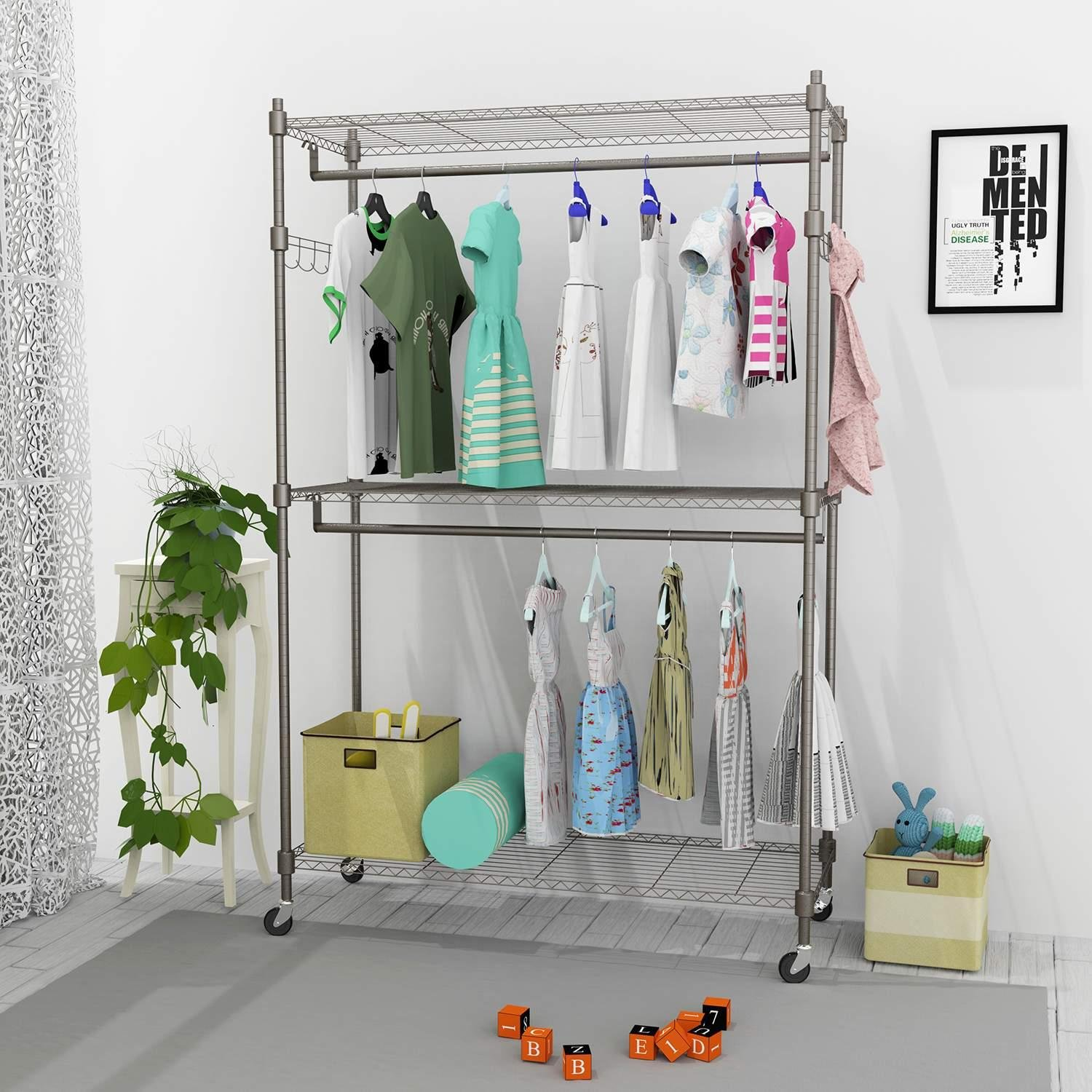 Fashine 3-Tier Heavy Duty Wire Shelving Clothing Rolling Rack, Portable Garment Rack for Closet Organizer with Rod Wheels Adjustable Shelves and Side Hooks (US Stock) (Gray 2 Hanging Rods 2 Hooks)