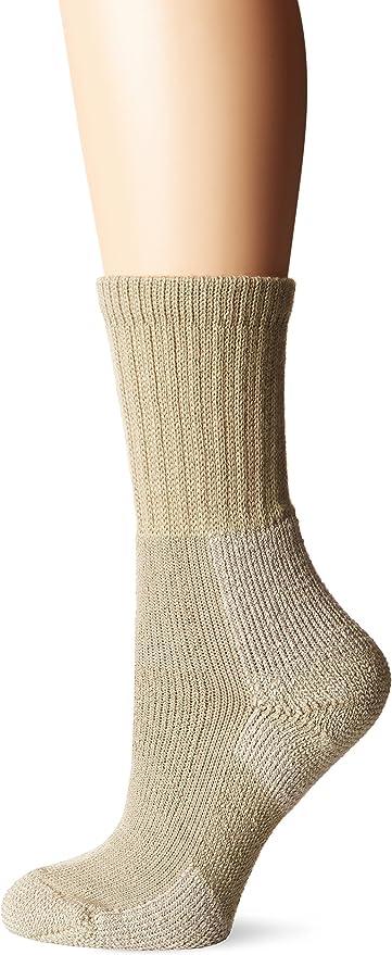 Khaki Medium Thorlos Womens WLTHW Light Hiking Thick Padded Wool Crew Sock