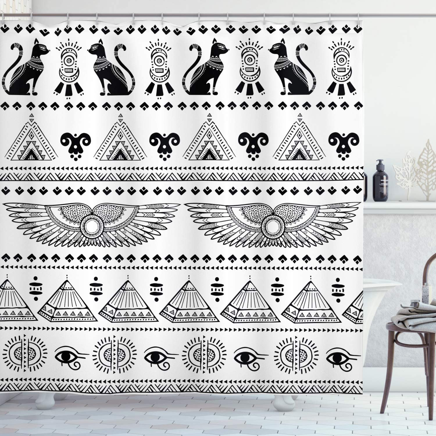 "Ambesonne Egyptian Print Shower Curtain, Art Pattern with Egypt Historical Architecture Picture, Cloth Fabric Bathroom Decor Set with Hooks, 70"" Long, White and Black"