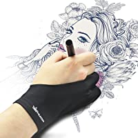 HUION Künstler-Zeichenhandschuh Zeichenhandschuh für Grafik-Zeichentablett Uni- Größe mit Zwei Fingern für die rechte oder Linke Hand - Packung zu je 1 Stck.