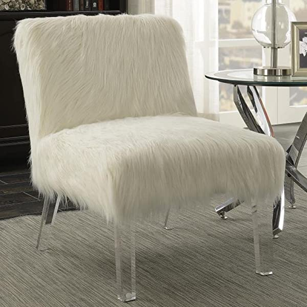 A Line Furniture Furry Design Living Room Accent Chair with Acrylic Legs