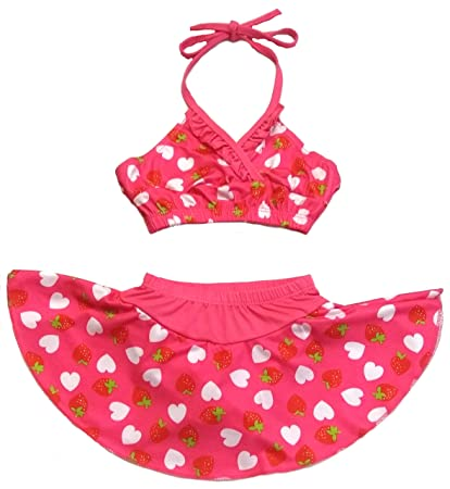 1189302f3 Velour Shoppe Kids Girls Swim 2 Piece Suit Blue Heart Strawberry Cartoon  Print (Swimming Costume