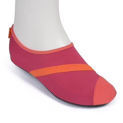 Fitkicks Zapatillas Flexibles, Ideales para Yoga, Ballet y Deportes acuáticos - 36-37 EU/Small - Fusion/Orange