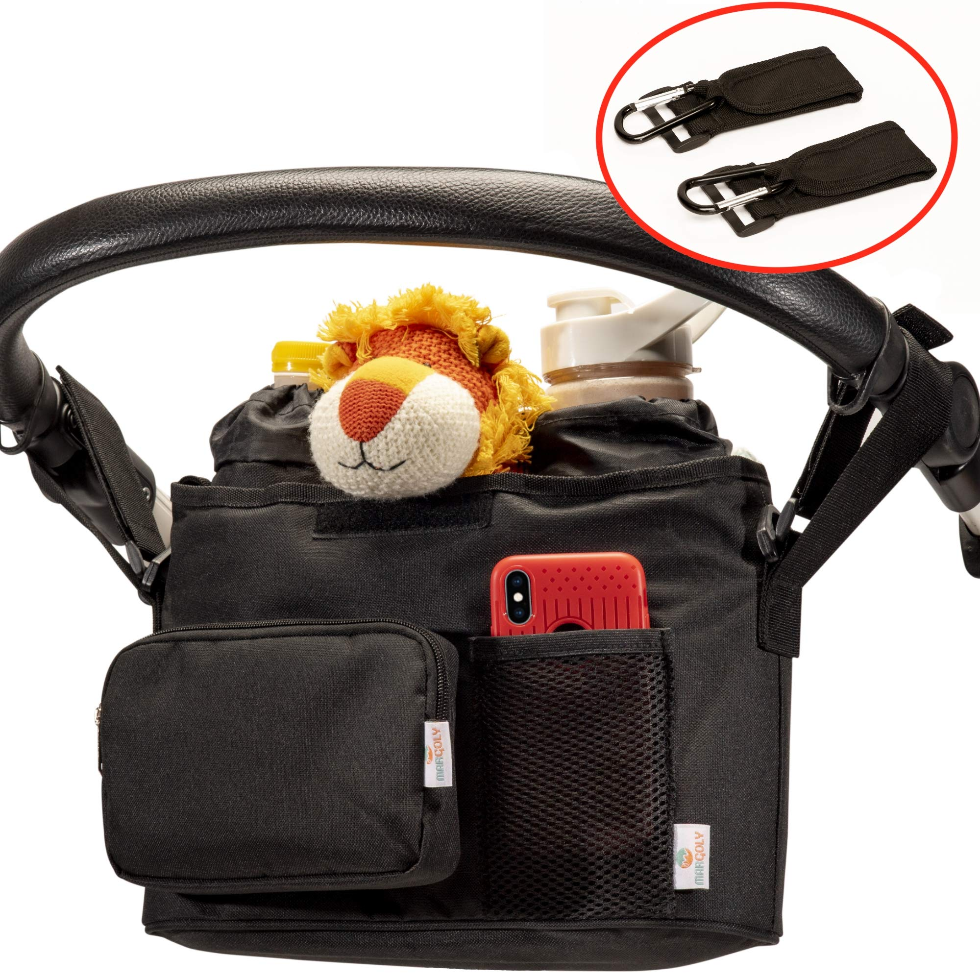 Stroller Organizer Universal Fit. Perfect Baby Bag Bundle for Parents On The Go with Shoulder Strap, Detachable Pouch, Insulated Bottle Sleeves and Stroller Hooks