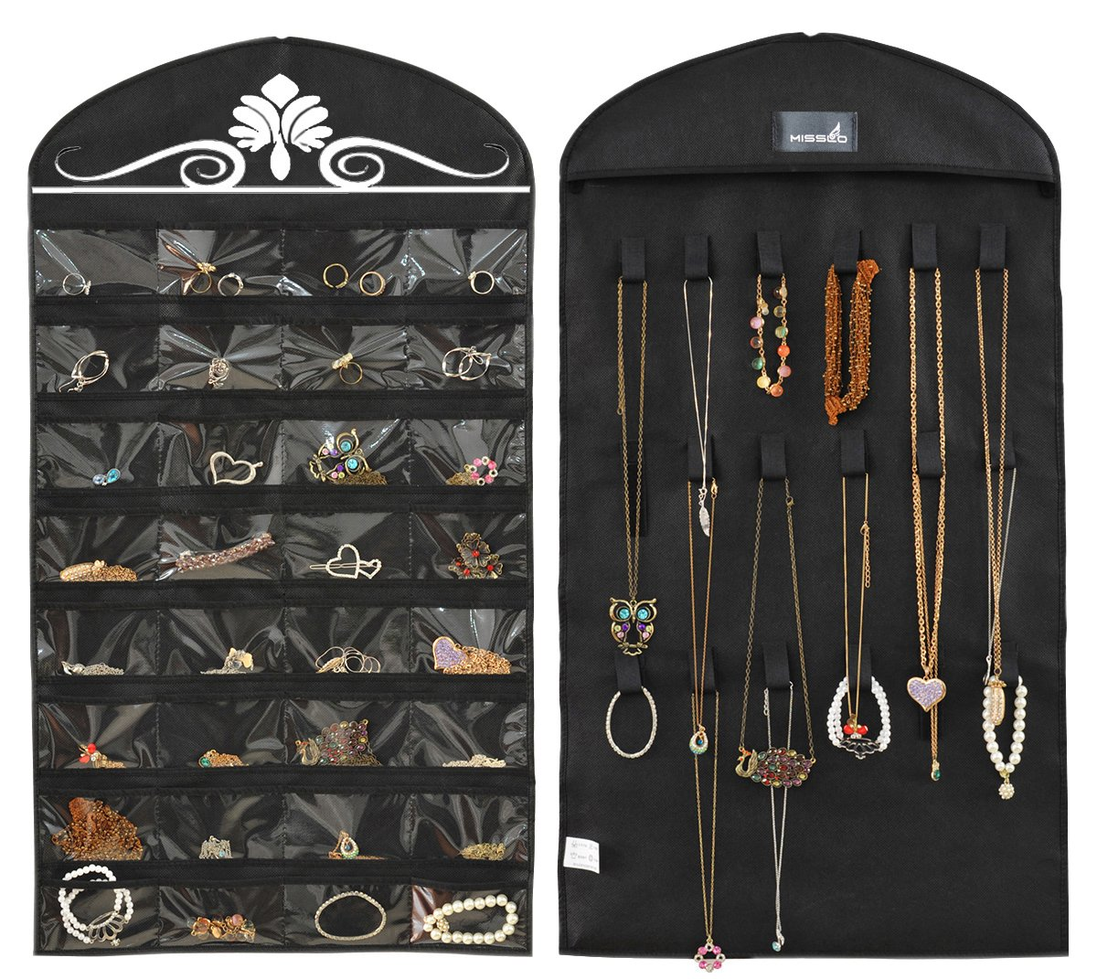 Misslo Jewelry Hanging Non-Woven Organizer Holder 32 Pockets 18 Hook and Loops - Black