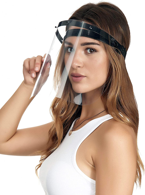 Crom Cr2 - Visera de plástico para protección de la cara abatible - Protección ocular - Soporte ajustable negro - Adecuado también para niños y usuarios de gafas (2 soportes de 6 viseras)