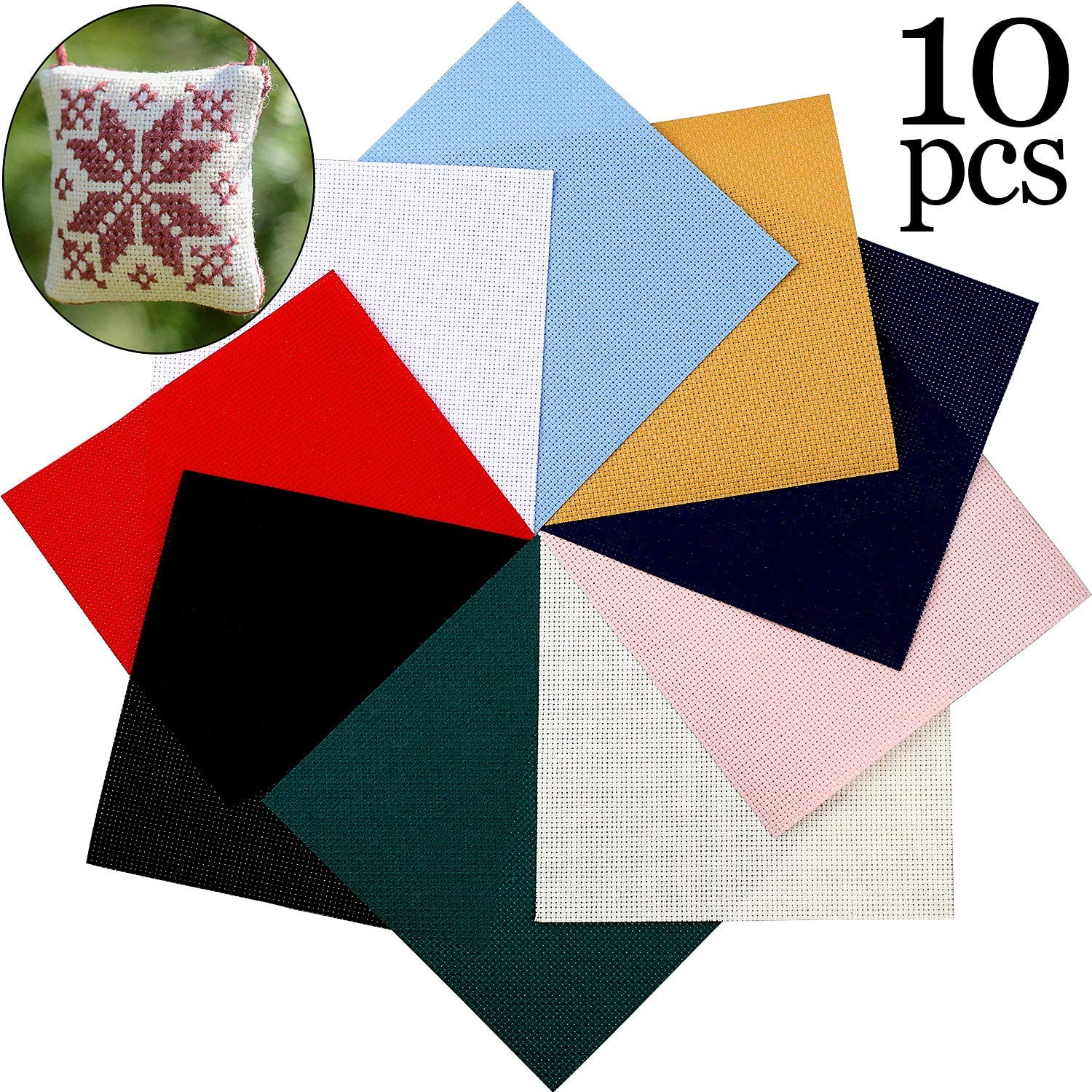 White 12 by 18-Inch 5 Pieces Cross Stitching Cloth 14 Count Aida Cloth Fabric Cross Stitch Cloth for DIY Embroidery Needlework Sewing Handcraft