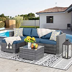 JY QAQA Outdoor Furniture Patio Sets,Low Back All-Weather Small Rattan Sectional Sofa with Tea Table&Washable Couch Cushions&Upgrade Wicker(Sliver Rattan) (3-Piece) (Aegean Blue)