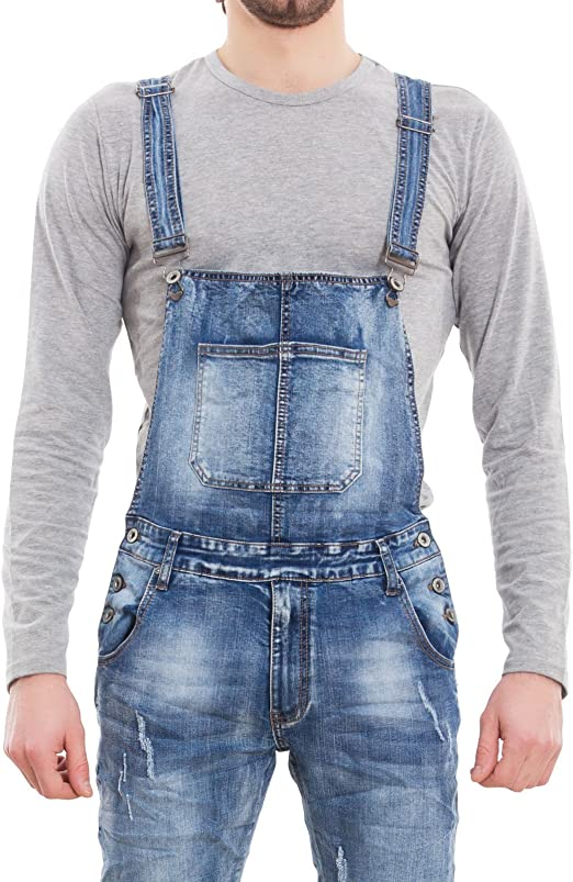 Salopette uomo jeans overall tuta intera denim casual slim fit cotone M8818