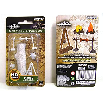 WizKids Deep Cuts Unpainted Miniatures Terrain: Wave 10: Camp Fire & Sitting Log: Toys & Games