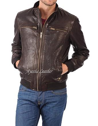 Mens Leather Jackets Motorcycle Bomber Biker Genuine Lambskin 100