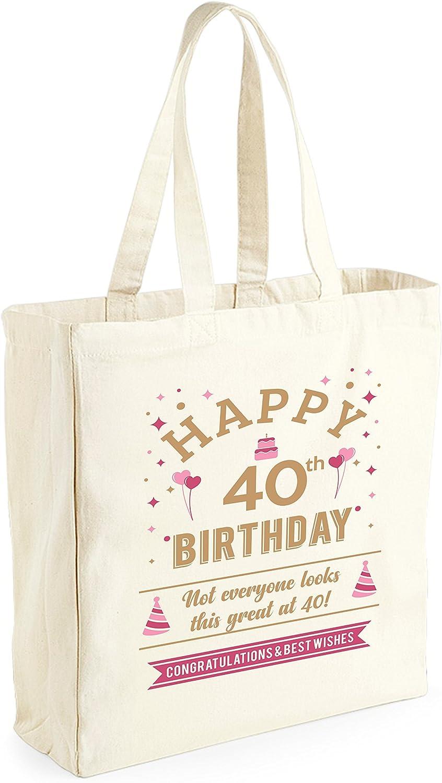 33 x 42 x 19/cm Para mujer Bolsa de lona de algod/ón de 40 cumplea/ños recuerdo o para hacer la compra Como regalo Natural