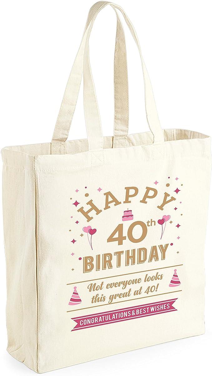 Bolsa de lona de algodón de 40 cumpleaños - Para mujer - Como regalo, recuerdo o para hacer la compra - Natural - 33 x 42 x 19 cm: Amazon.es: Ropa y accesorios