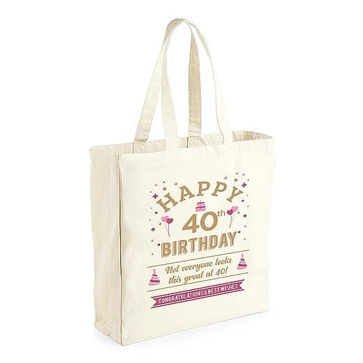 40th cumpleaños, recuerdo, regalo divertido, regalo para las mujeres, señoras, mujeres bolsa de la compra, Present, Tote Bag, Idea de regalo