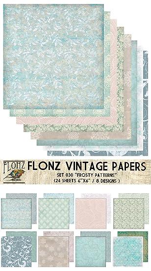 paper pack 24blatt 15x15cm frosty winter ice patterns flonz vintage muster papier fur scrapbooking - Bastelpapier Muster