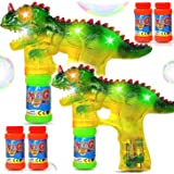Haktoys Dinosaur Bubble Gun with LED Flashing Lights 2 Bubble Shooters, 4 Bottles Bubble Refill Solution and Batteries…