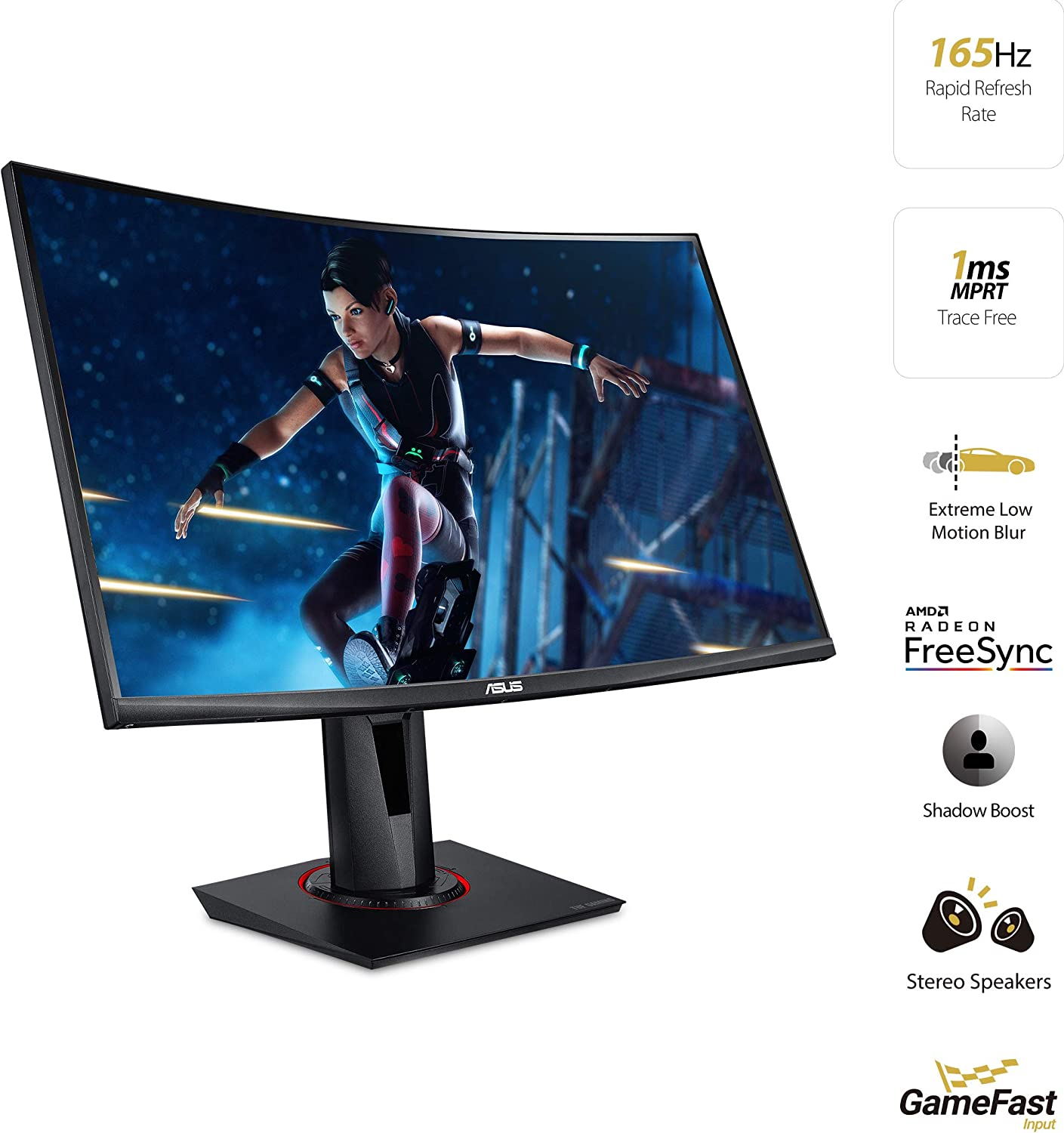 Amazon Com Asus Tuf Gaming Vg27vq 27 Curved Monitor 1080p Full Hd 165hz Supports 144hz Freesync 1ms Extreme Low Motion Blur Eye Care Displayport Hdmi Black Computers Accessories
