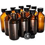 (12 Pack) 2 oz. Amber Boston Round with Black Poly Cone Cap (20/400)