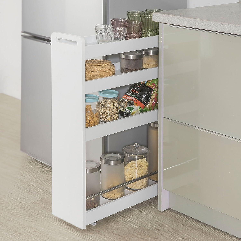 SoBuy NSR01-W Nischenregal mit 4 Etagen Küchenregal mit Rollen ...