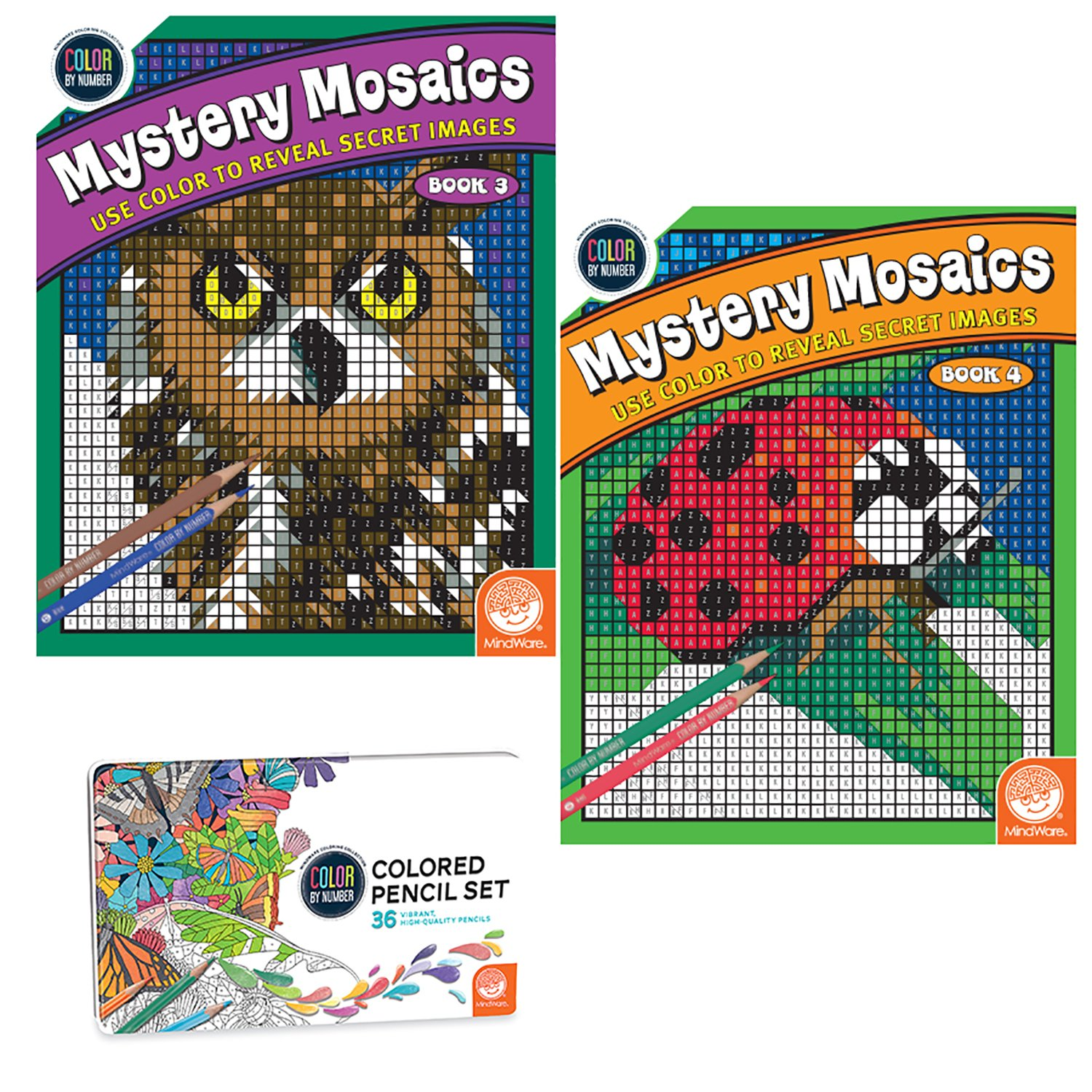 MindWare Color Number Mystery Mosaics Set: Books 3-4 pencils