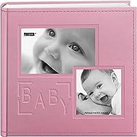 Álbum de fotos Pioneer com capa de couro sintético em relevo com 200 compartimentos para fotos de 10 x 15 cm, rosa