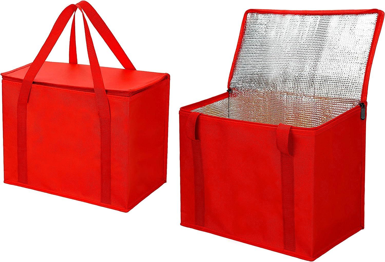 2 팩 X 큰 절연료 식료품 쇼핑 가방 빨간색 재사용할 수 있는 가방 무거운 의무 압축 지퍼를 접을 수 있는 운반 쿨러 남자 여자 예 INSTACART 대한 DOORDASH 자동차 재활용 재료