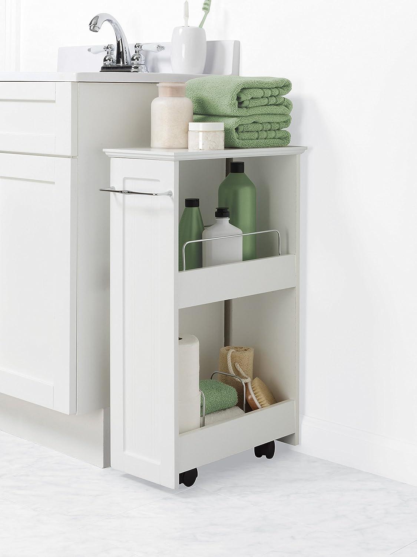 Amazon.com: Zenna Home 9227WWBB, Slimline Rolling Storage Shelf ...