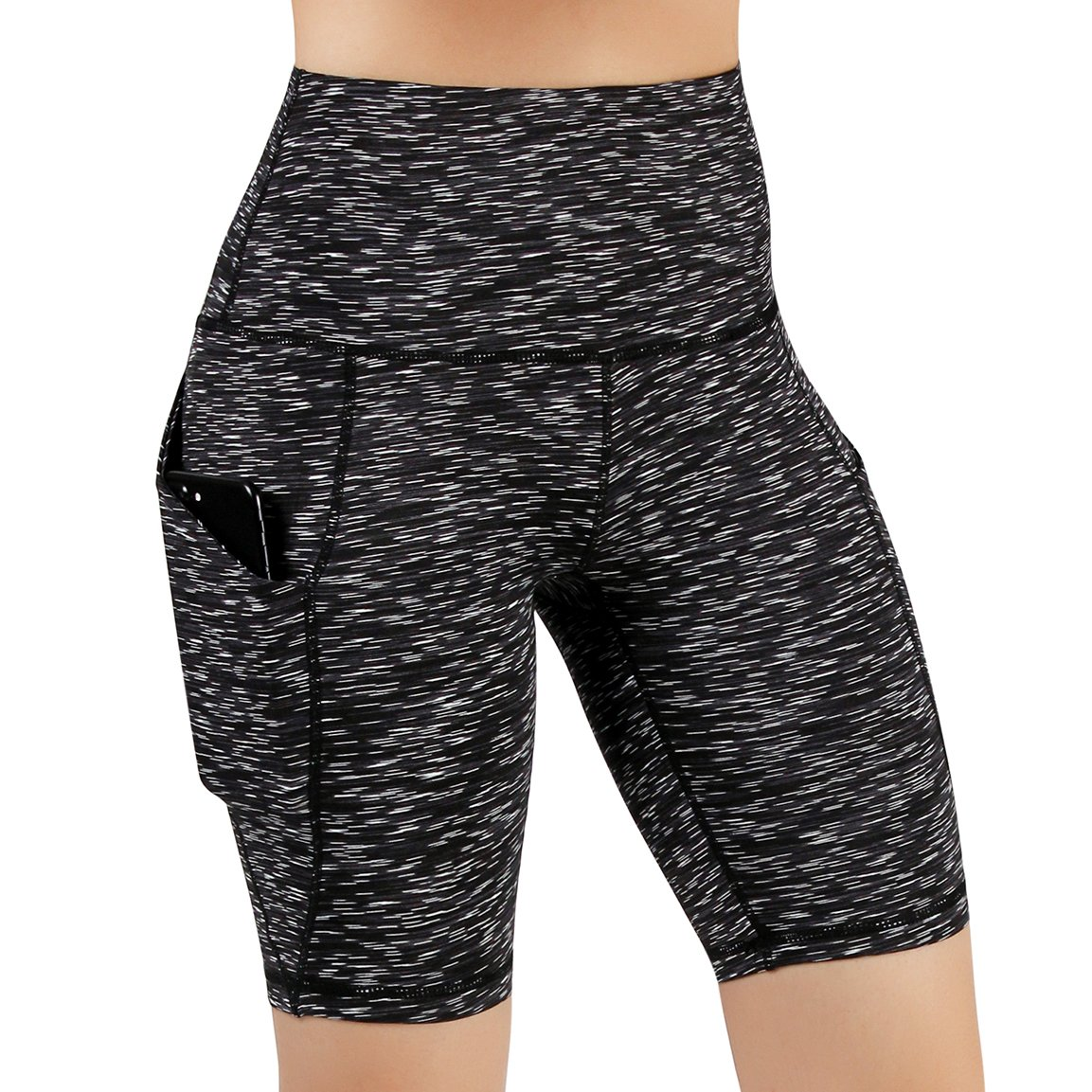 ODODOS High Waist Out Pocket Yoga Short Tummy Control Workout Running Athletic Non See-Through Yoga Shorts,SpaceDyeMattBlack,XX-Large by ODODOS