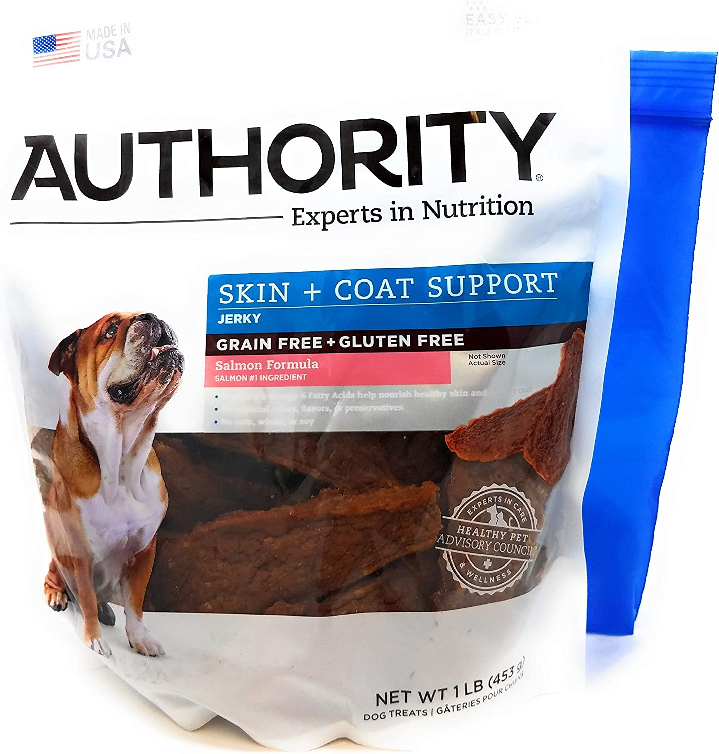 Authority Skin and Coat Support Formula Jerky 1lb and Tesadorz Resealable Bags