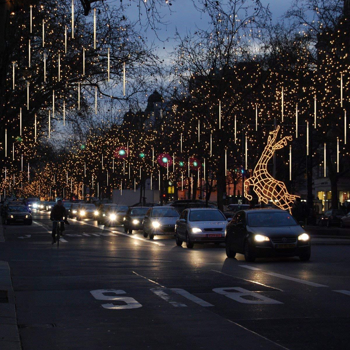 alberi di Natale Colore 30cm 10 Tubo 360LED Pioggia Luci,DINOWIN Meteor Luci Impermeabili Solare Decorazione luci a Sospensione per Esterni Giardino Festa di Nozze