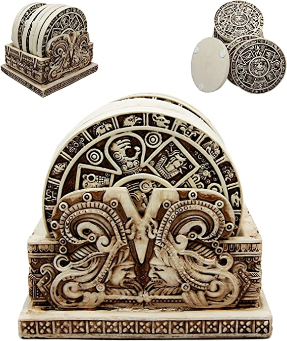 Gifts & Decors Ancient Aztec Demonic Gods Warrior Rank Symbols Set of 6 Coasters with Holder Figurine