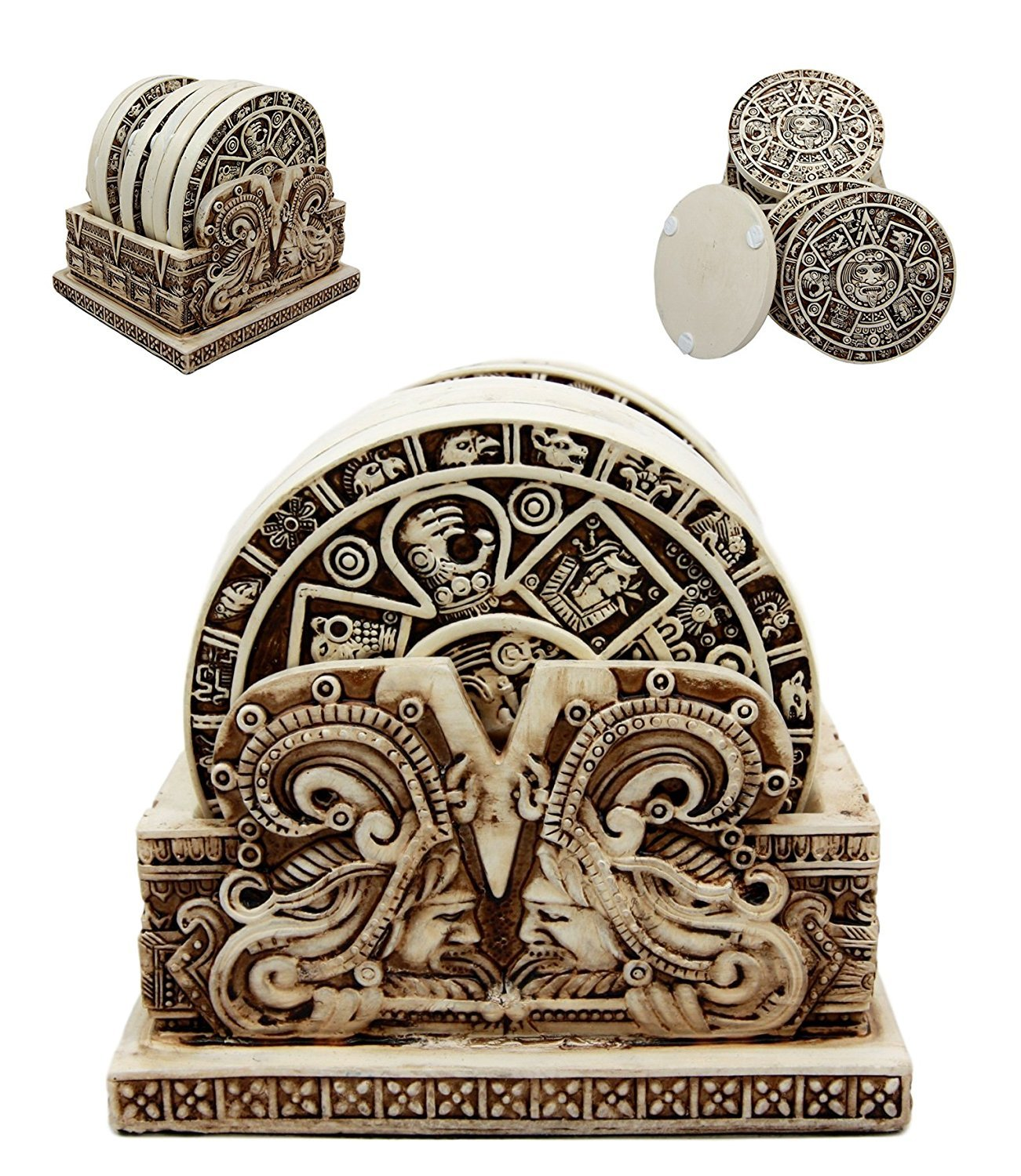 Ancient Aztec Demonic Gods Warrior Rank Symbols Set of 6 Coasters With Holder Figurine