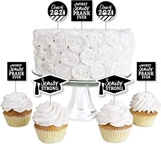 product image for Big Dot of Happiness Senior Strong - Dessert Cupcake Toppers - Class of 2021 Graduation Party Clear Treat Picks - Set of 24