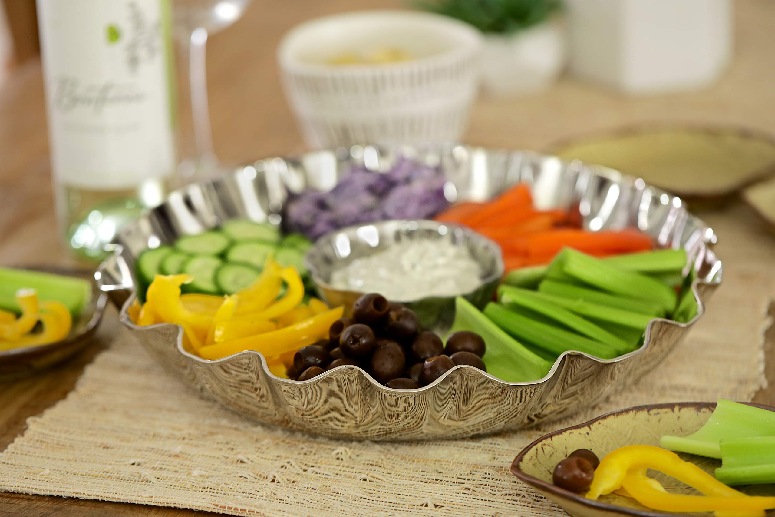 Elegant 2 Piece Stainless Steel Chip And Dip Platter - Party Serving Bowl - Ideal For Chips And Salsa Appetizers, Salad, Party Bowl, Relish Dish,