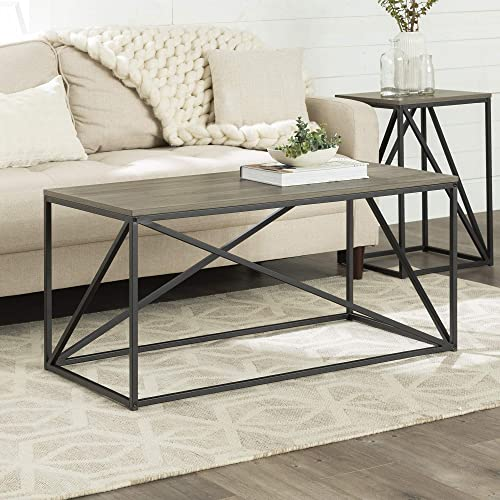 Walker Edison Modern Geometric Metal Rectangle Coffee Table Living Room Accent Ottoman Storage Shelf