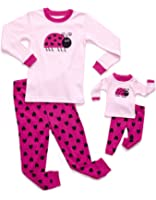 Leveret Matching Doll & Girl 2 Piece Pajama Set Top & Pants 100% Cotton (Size Toddler-14 Years) Fits American Girl Doll