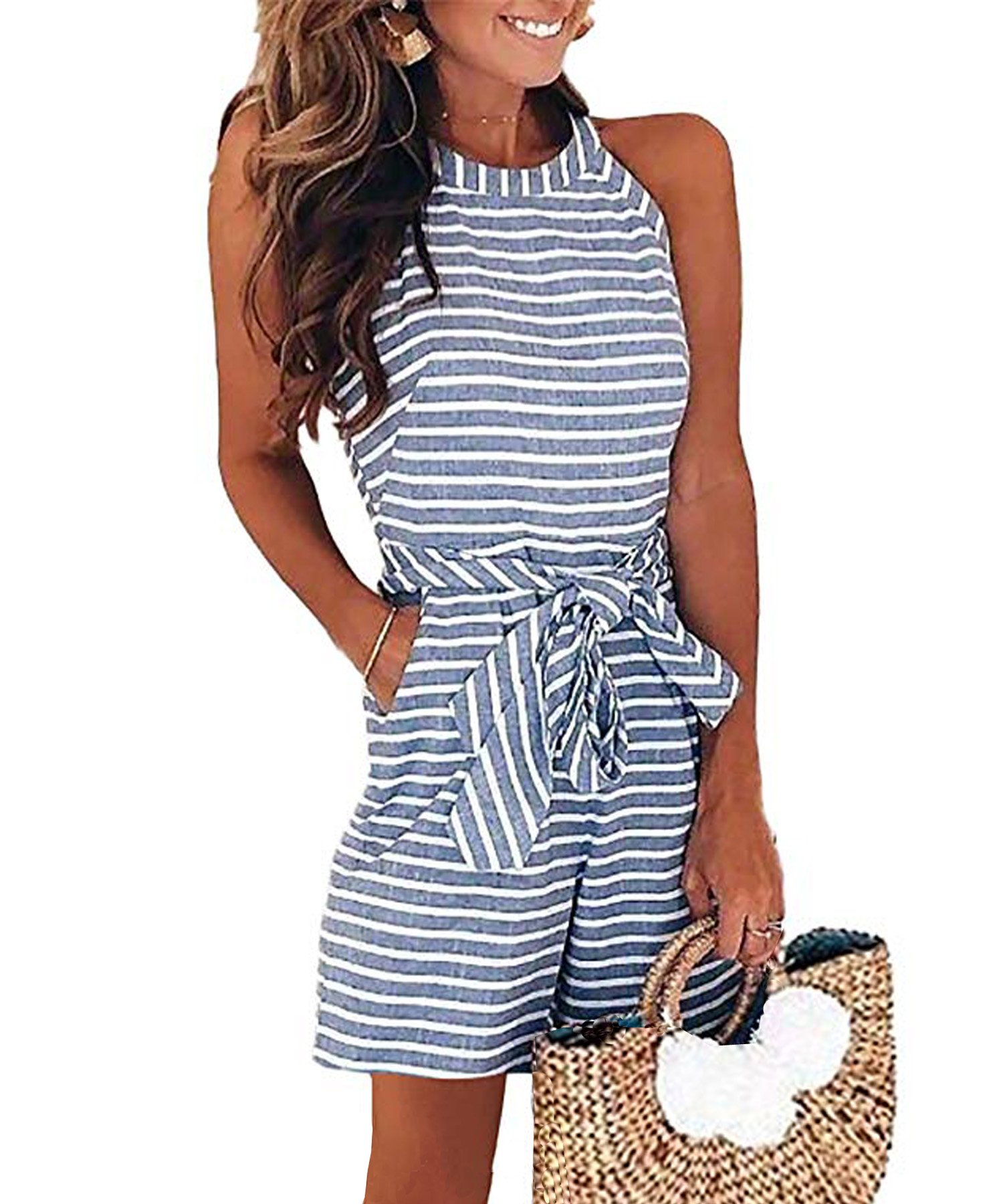 Ru Sweet Women Striped Waist Belted Zipper Back Short Jumpsuit Rompers with Pockets