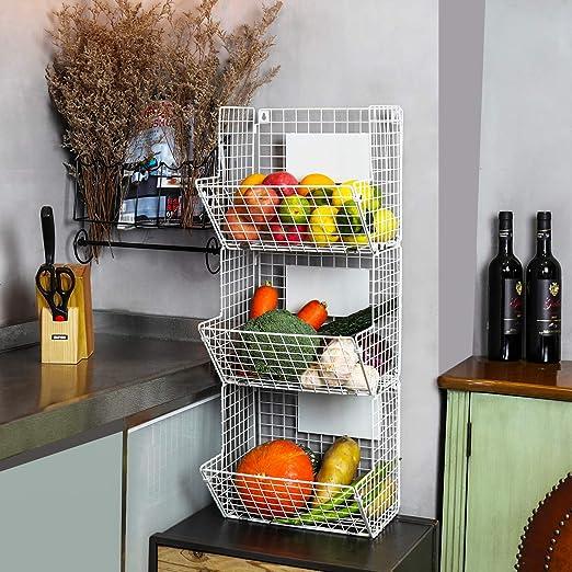 X-cosrack Metal Wire Basket Wall Mount, 3 Tier Wall Storage Basket  Organizer with Hanging Hooks Chalkboards, Rustic Kitchen Fruit Produce Bin  Rack ...