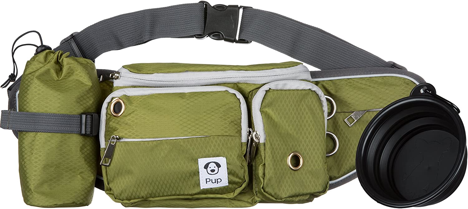 Small//Medium Dogs Dog Walk Waist Fanny Pack Treat Pouch with Collapsible Water Bowl and Water Bottle Holder