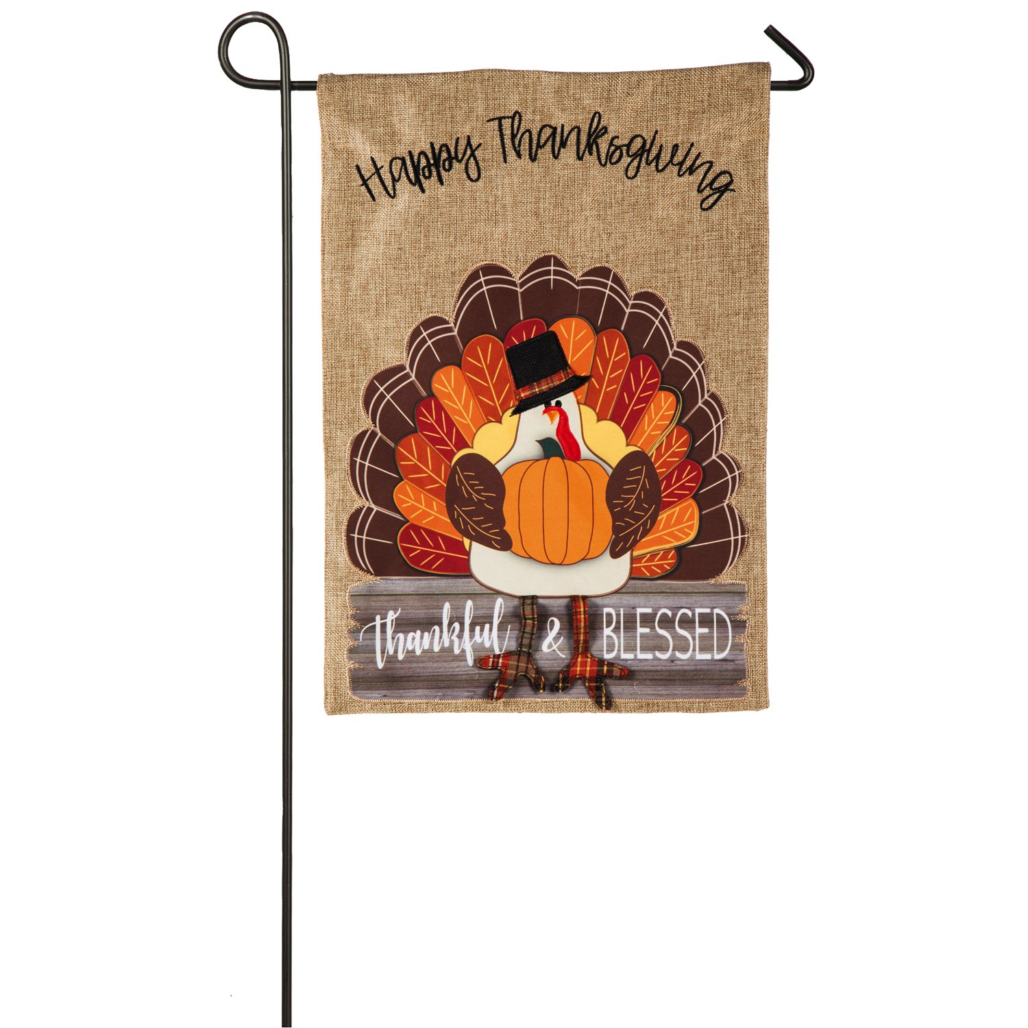 Evergreen Thankful and Blessed Turkey Outdoor Safe Double-Sided Burlap Garden Flag, 12.5 x 18 inches