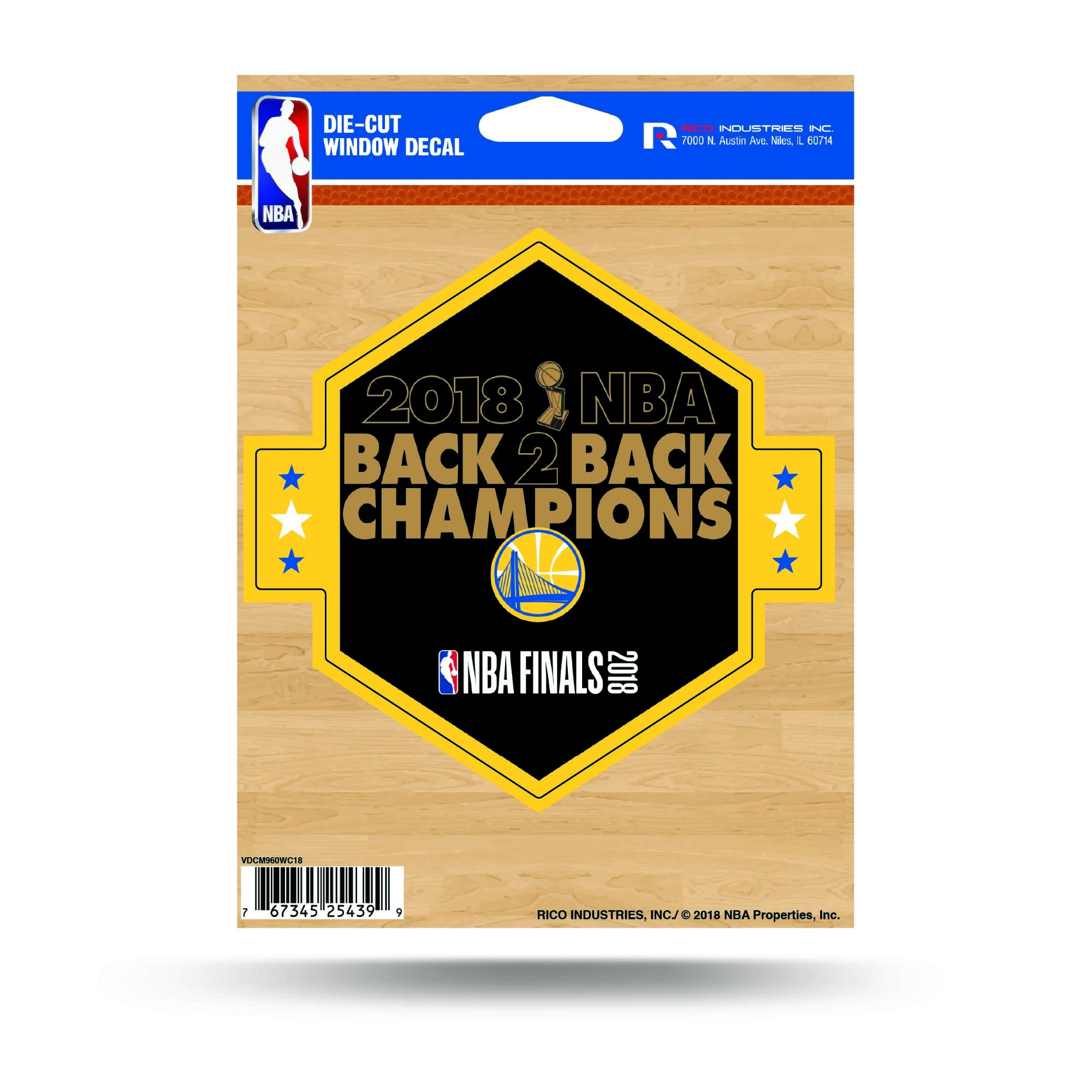 Rico Golden State Warriors Official NBA 5'' x 2018 National Champions Automotive Car Decal 5x5 by 387264