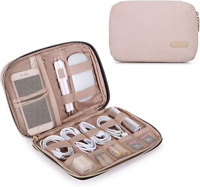 BAGSMART Electronic Organizer Small Travel Cable Organizer Bag for Hard Drives, Cables, Charger, Phone, USB, SD Card, Soft Pink