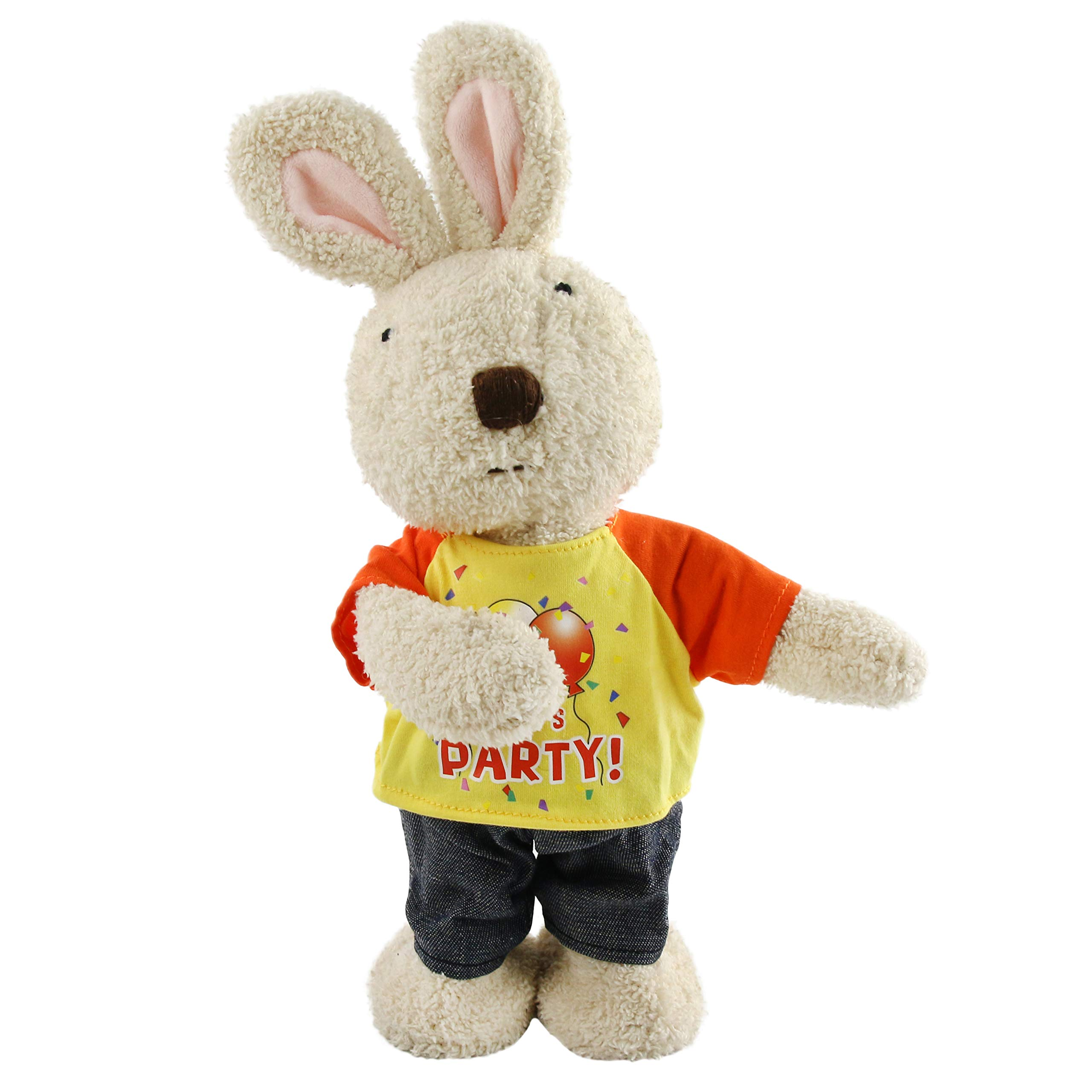 Houwsbaby Electric Rabbit in Detachable T-Shirt Interactive Stuffed Animal Musical Bunny Dancing Singing Plush Toy Gift for Kids, 15 inches (Yellow) by Houwsbaby