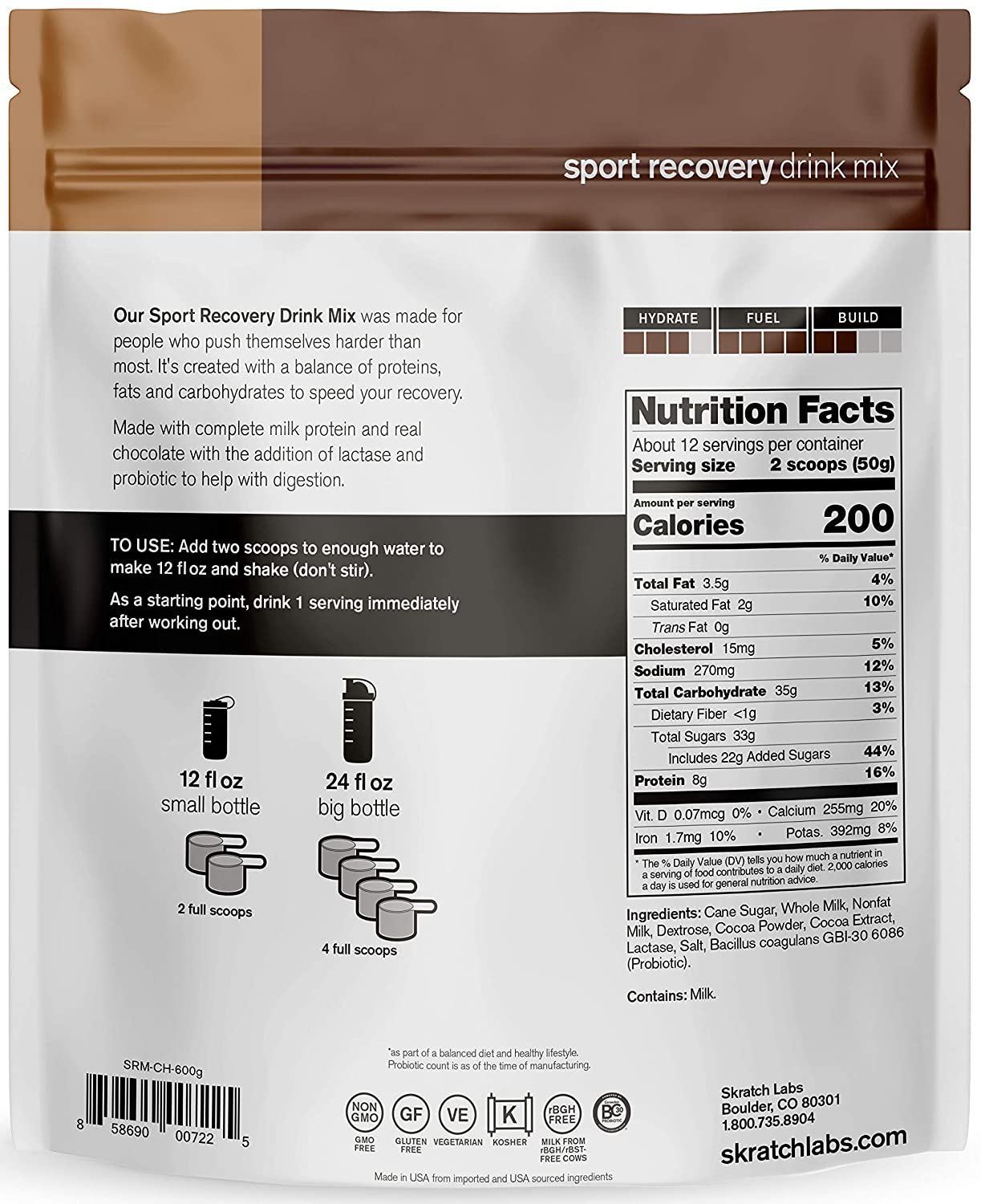 SKRATCH LABS Sport Recovery Drink Mix with Chocolate, 21.2 oz, 12 servings with Complete Milk Protein of Casein and Whey and Probiotics, Gluten Free, Kosher, Natural, Vegetarian