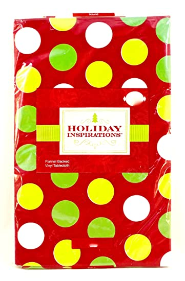 Jo Annu0027s Holiday Inspirations Polka Dot Vinyl Tablecloth,red/green,flannel  Backed